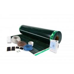 Kit incalzire pardoseala pentru parchet , cu folie incalzitoare 140 W / mp , pentru 2 mp cu termostat programabil WI-Fi control
