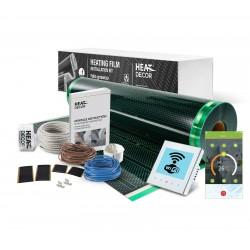 Kit incalzire pardoseala pentru parchet , cu folie incalzitoare 140 W / mp , pentru 5 mp cu termostat programabil WI-Fi control