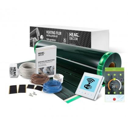 Kit incalzire pardoseala pentru parchet , cu folie incalzitoare 140 W / mp , pentru 3 mp cu termostat programabil WI-Fi control